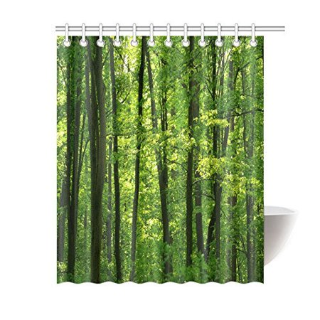 POP Rainforest Trees Shower Curtain Set, Tropical Rainforest Landscape Beautiful Fresh Green Forest Bathroom, Green 60x72 inch - image 2 of 2