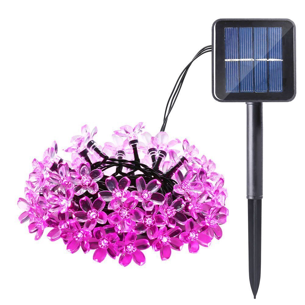 Qedertek Christmas Solar Lights Outdoor Lighting Cherry Blossom Solar String Lights, 22.96ft 50 LED for Indoor/Outdoor, Patio, Lawn, Garden, Christmas, and Holiday Festivals (Pink)