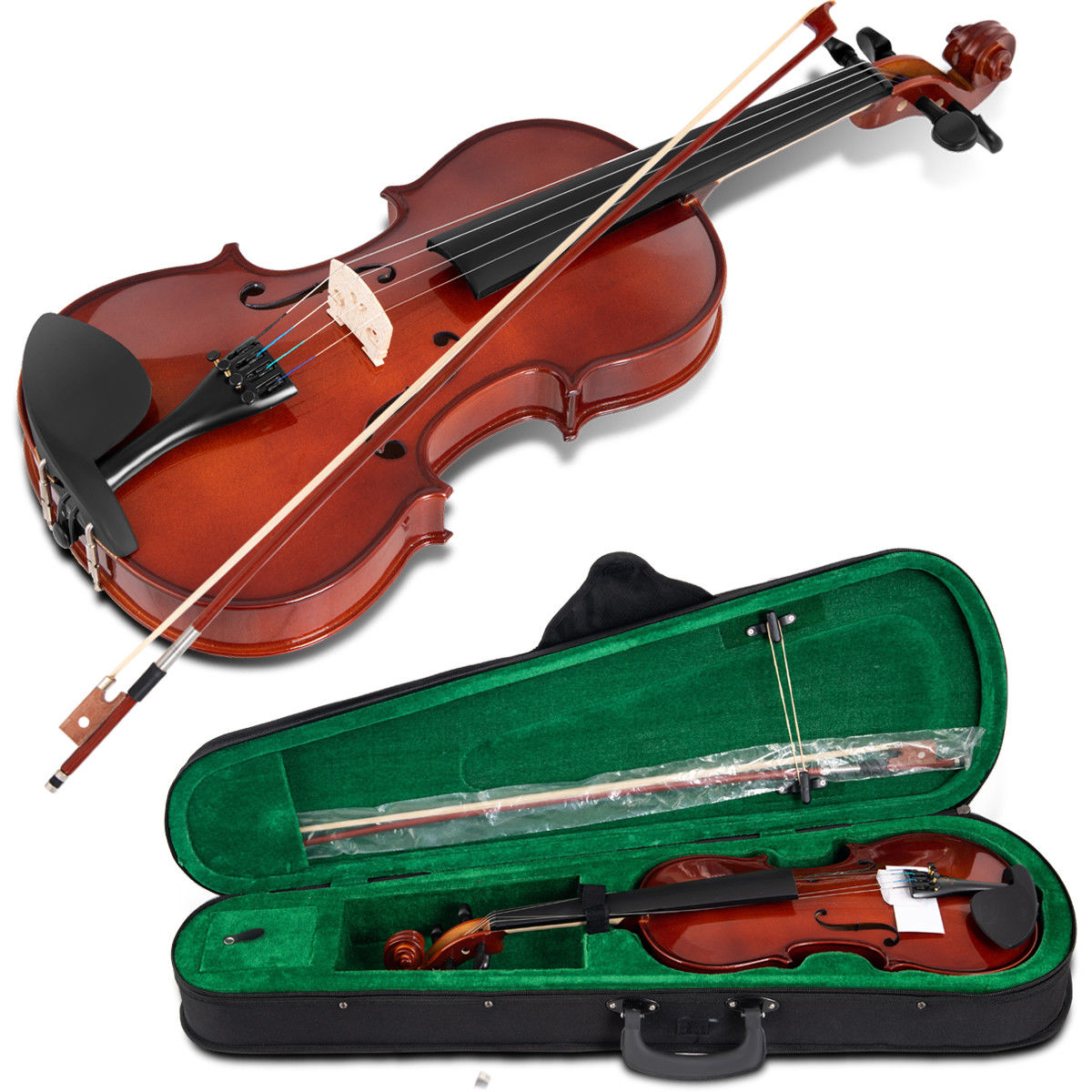 Full Size 4/4 Violin Solid Wood w/ Hard Case Bow Rosin Bridge Student Starter - image 9 de 10