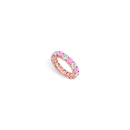 Created Pink Sapphire and CZ Eternity Band in 14K Rose Gold Seven Carat TGW. - image 2 de 2