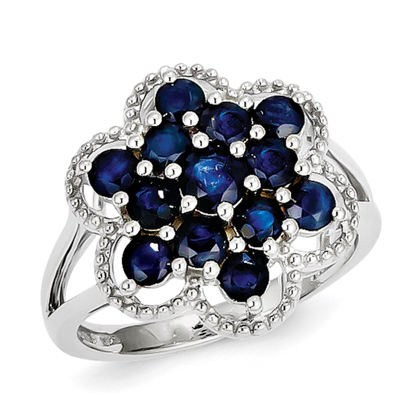 Roy Rose Jewelry Sterling Silver Sapphire Flower Ring ~ Size 6