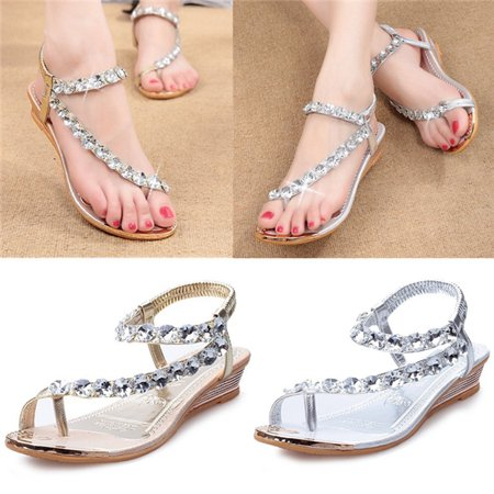 Women Diamante Rhinestone Sandal Flip Flops Wedding Party Shoes Low Heel Casual Silver - Wedding Flip Flops