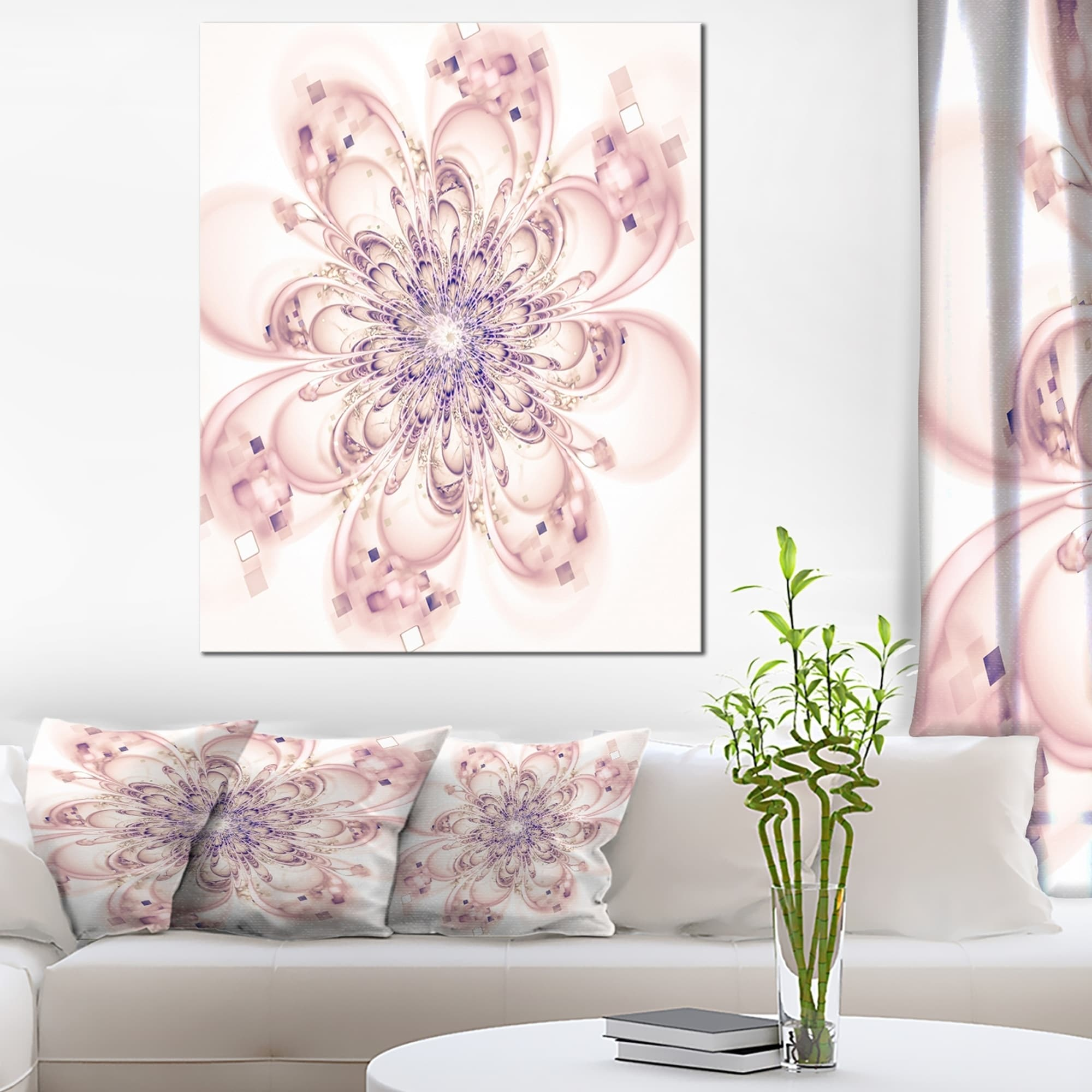 DESIGN ART Full Bloom Fractal Flower in Pink - Large Flower Canvas ...