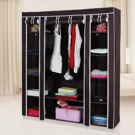 Ktaxon Portable Clothes Closet Non-Woven Fabric Wardrobe Double Rod Storage - Double Hanging Wardrobe