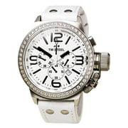 TW10R Men's Canteen White Dial White Leather Strap Chronograph Crystal Watch