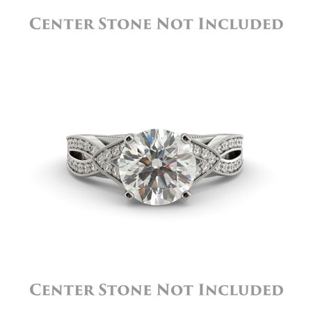 Oval Engagement Ring Semi Mount Vintage Split Shank Diamond 14k White Gold Real