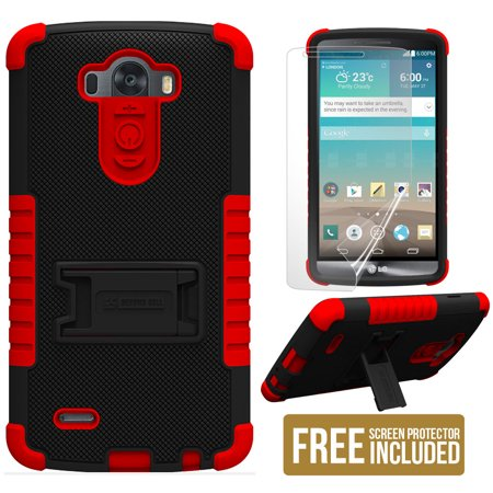 RED BLACK TRI-SHIELD SOFT SKIN HARD CASE STAND SCREEN PROTECTOR FOR LG G3 (Best Phone Case For Lg G3)