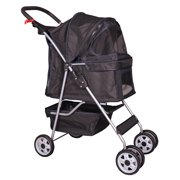 BestPet Black 4 Wheels Pet Stroller Cat Dog Cage Stroller Travel Folding Carr...
