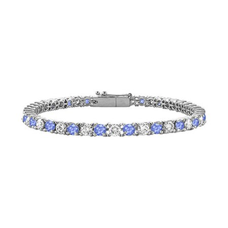 Created Tanzanite and Cubic Zirconia Tennis Bracelet with 1.00 CT TGW on 14K White Gold