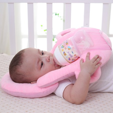 Jeobest 1PC Baby Self Feeding Pillow - Baby Pillow for Feeding - Baby Feeding Pillow - Baby Portable Feeding Pillows Self Feeding Bottle Support Newborn Detachable Feeding Pillow (Pink) MZ (Bottle Support)