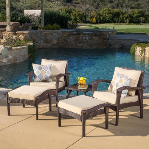 Christopher Knight Home Honolulu Outdoor 5-piece Wicker Seating Set with Cushions Brown with Beige
