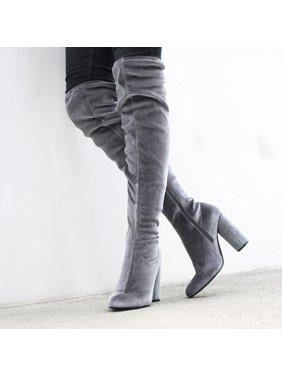 Fahrenheit Over Knee Women's High Heel Boots in Gray