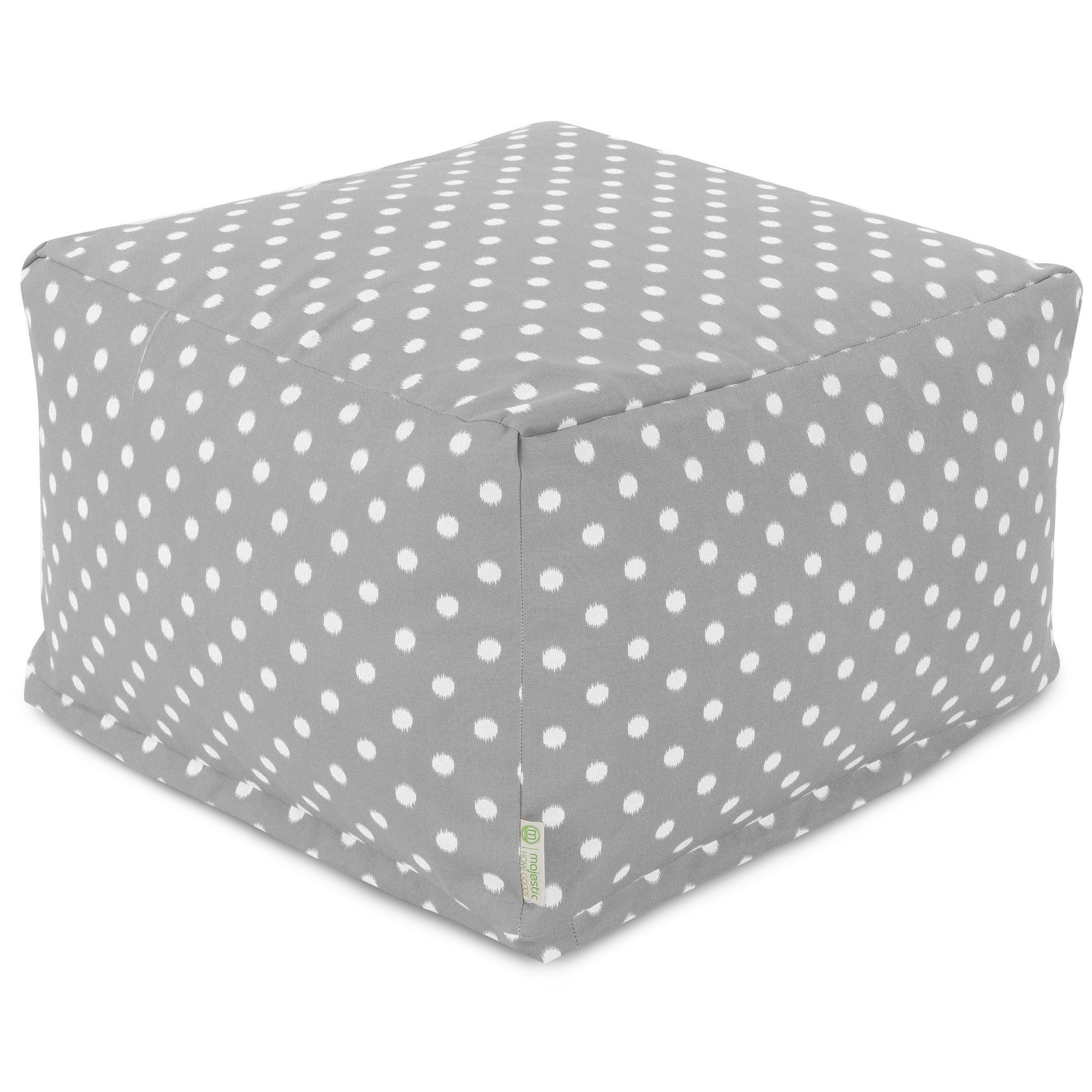 Majestic Home Goods Indoor Outdoor Treated Polyester Gray Ikat Dot Ottoman Pouf