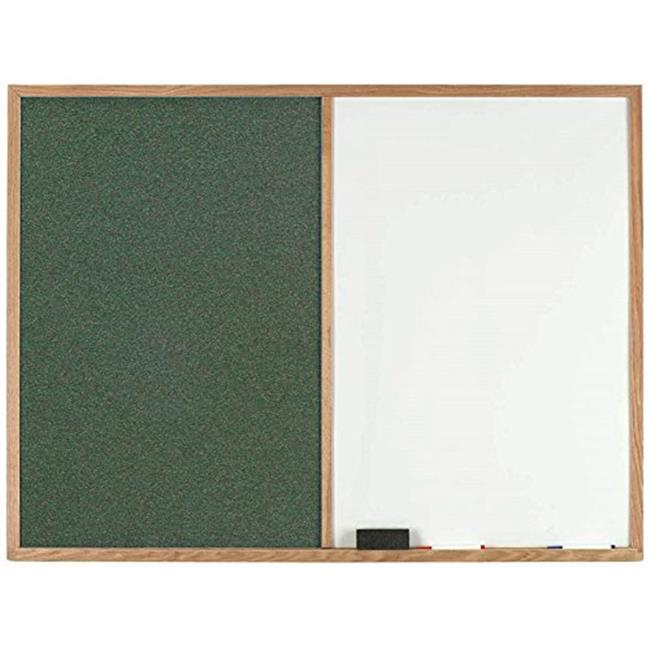 Aarco Products FCO2436GN Oak Frame Combination Green Fabric Tack Board - 24 H x 36 W in.