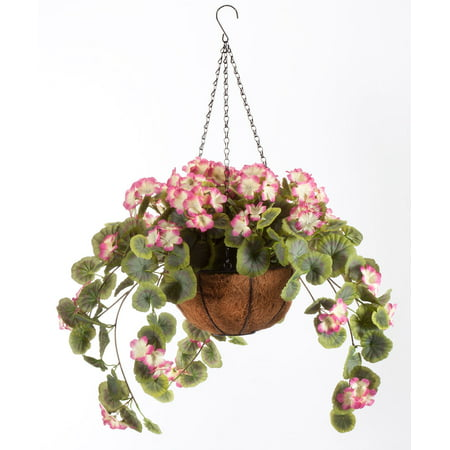 "OakRidge Miles Kimball Fully Assembled Artificial Geranium Hanging Basket, 10"" Diameter and 18"" Chain – Pink Polyester/Plastic Flowers in Metal and Coco Fiber Liner Basket for Indoor/Outdoor -"