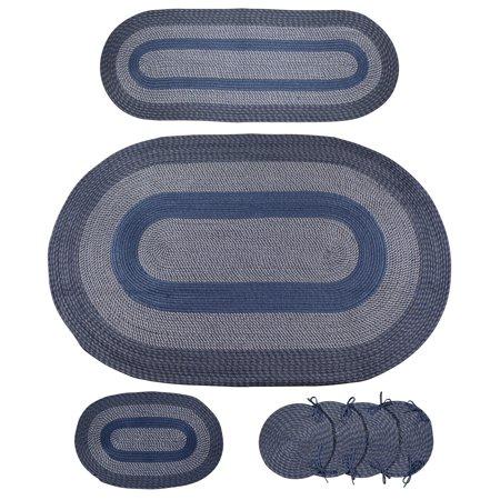 7pc Braided Rug Set - Blue