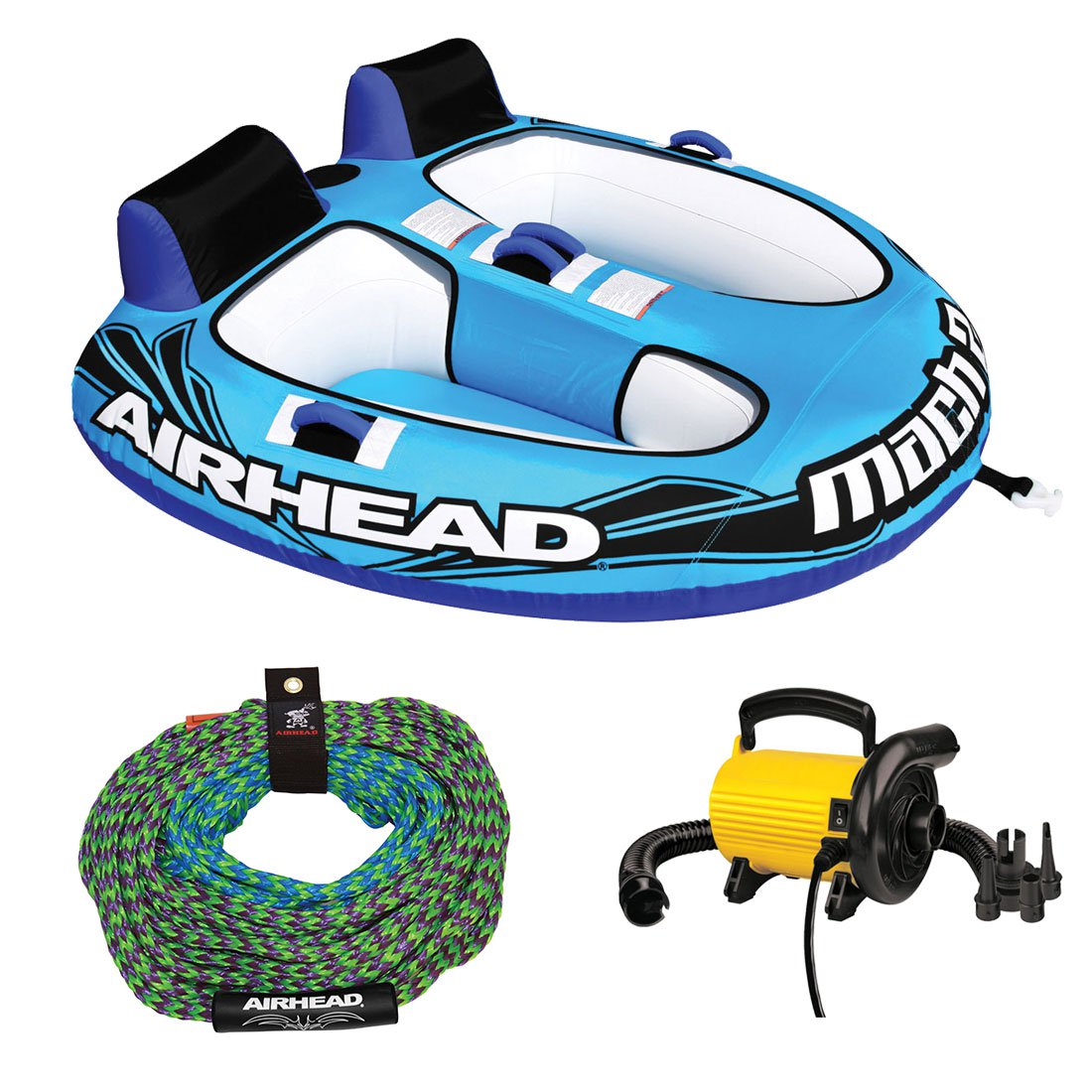 Airhead Mach 2 Inflatable 2 Rider Water Towable Tube w  50-60' Tow Rope & Pump by Kwik Tek