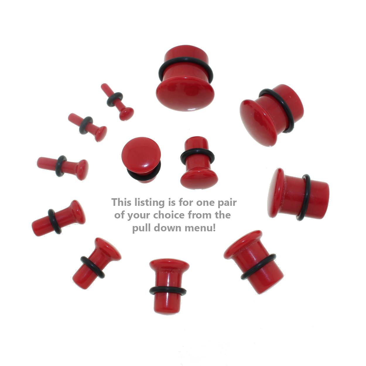 Lex & Lu Single Flare Genuine Red Carnelian Stone Organic Ear Plugs