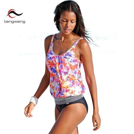 1d154eda96f VirtualStoreUSA.com - Floral Print Tankini Set Two Piece Push Up Swimsuit  Sexy Bandeau Padded Bathing Suit Plus Size Swimwear - Walmart.com
