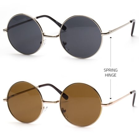 Small Round Frame Sunglasses GOLD metal circle lennon hippy counter cultu (Small Circle Sunglasses)