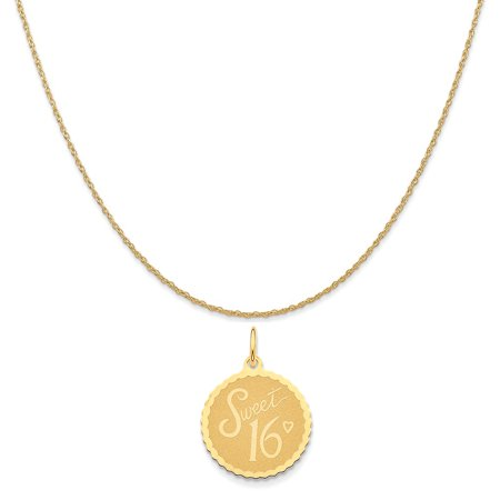 14k Yellow Gold Sweet 16 Charm on a 14K Yellow Gold Rope Chain Necklace, - Sweet Sixteen Jewelry Ideas