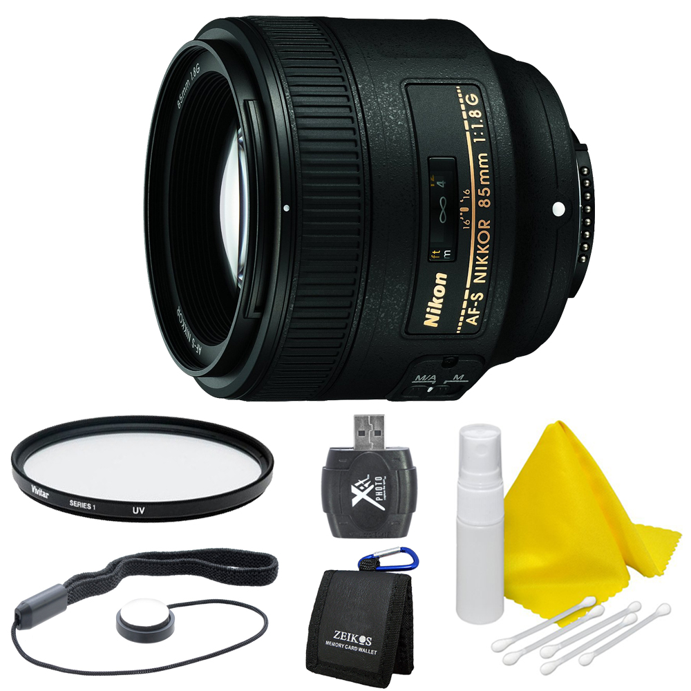 Nikon 85mm f/1.8G AF-S NIKKOR Lens for Nikon Digital SLR Cameras Deluxe Bundle includes 85mm f/1.8G AF-S NIKKOR Lens, 67mm UV Protective Filter, Lens Cap Keeper, Lens Cleaning Kit, Memory Card Wallet