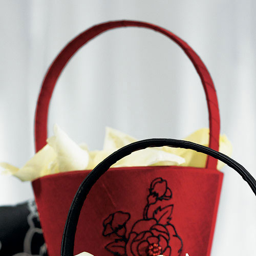 Weddingstar 8679 Silhouettes in Bloom Flower Girl Basket - Cabernet Red
