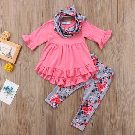 Floral Toddler Kids Baby Girl Long Sleeve T-shirt Tops Mini Dress+Leggings+Scarf 3Pcs Outfits Cotton Clothes Fit For 1-7T