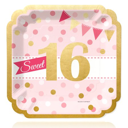 Sweet Sixteen Ideas For Winter (Sweet 16 with Gold Foil - 16th Birthday Party Dinner Plates (16)