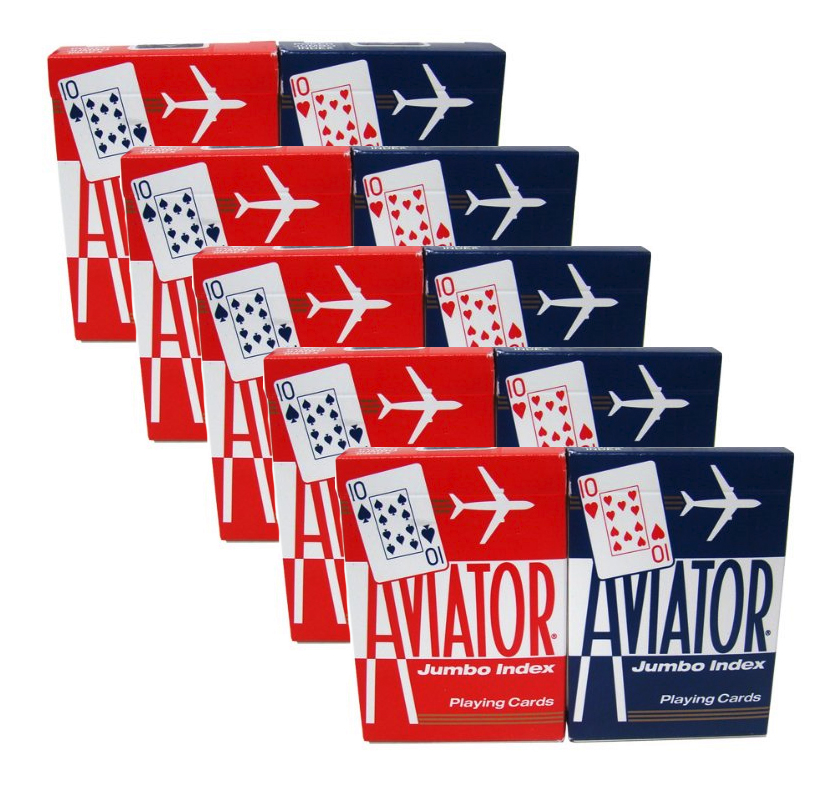 Aviator Jumbo Index Playing Cards - 5 Sealed Red Decks and 5 Sealed Blue Decks #1000876