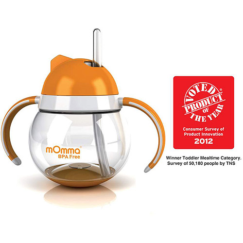 Lansinoh - mOmma Straw Cup with Dual Handles, BPA-Free, Orange