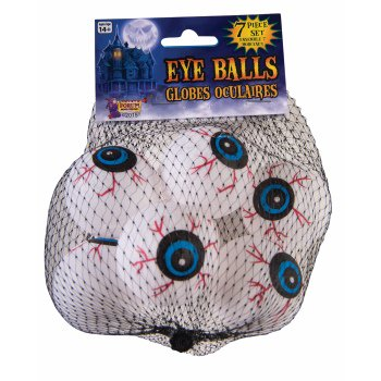 Vegas Halloween Ball (Forum Halloween Haunted House Crazy Eye Balls Decoration Prop, White Red, 7)