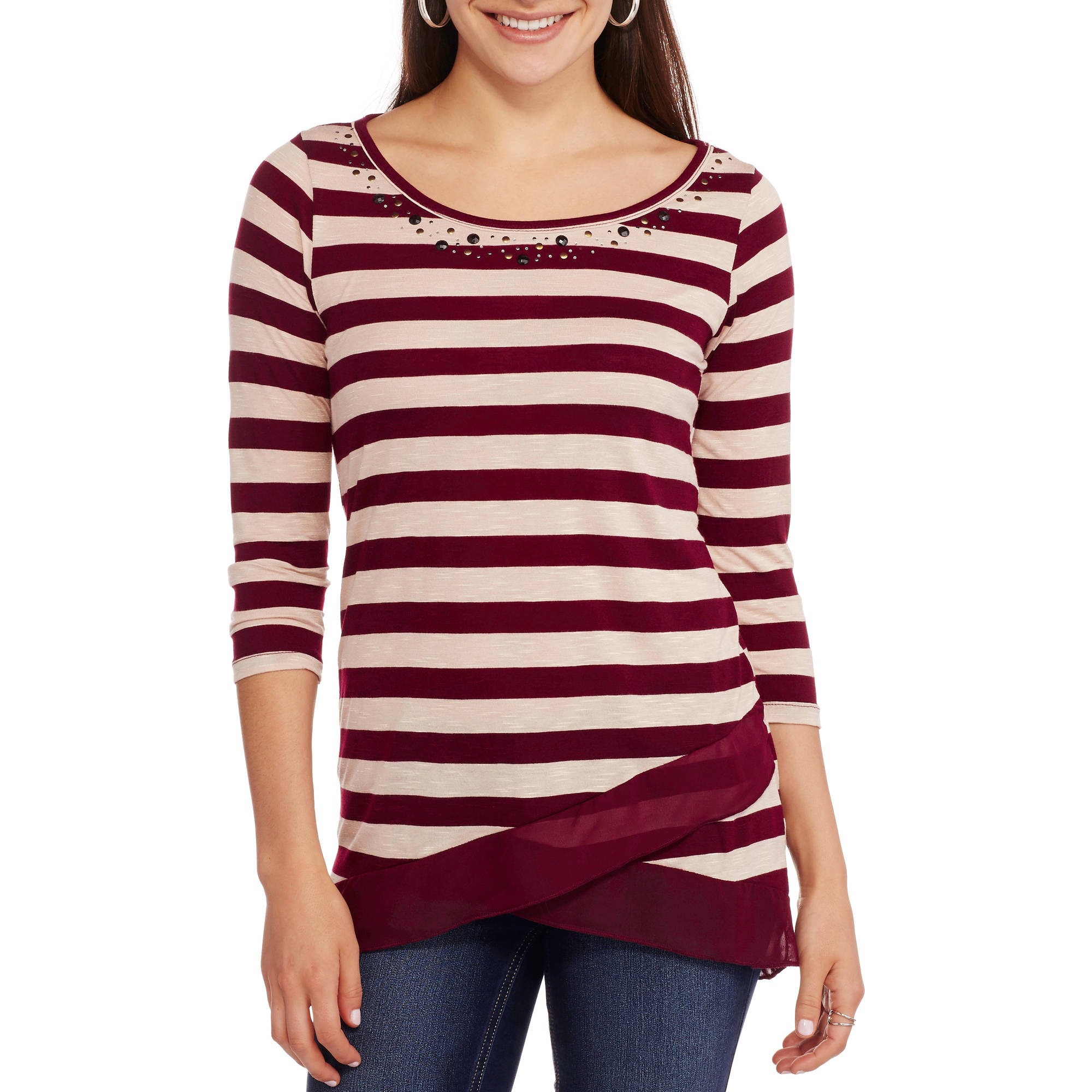French Laundry Women's Embellished Crossover Top with Chiffon Trim