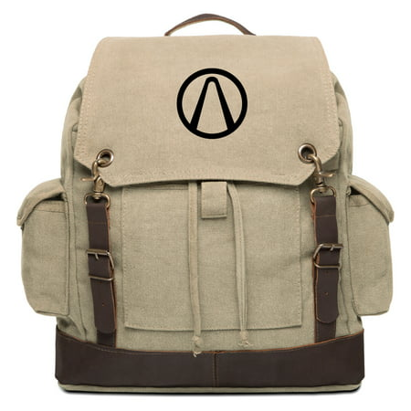 Borderlands Vault Vintage Canvas Rucksack Backpack with Leather