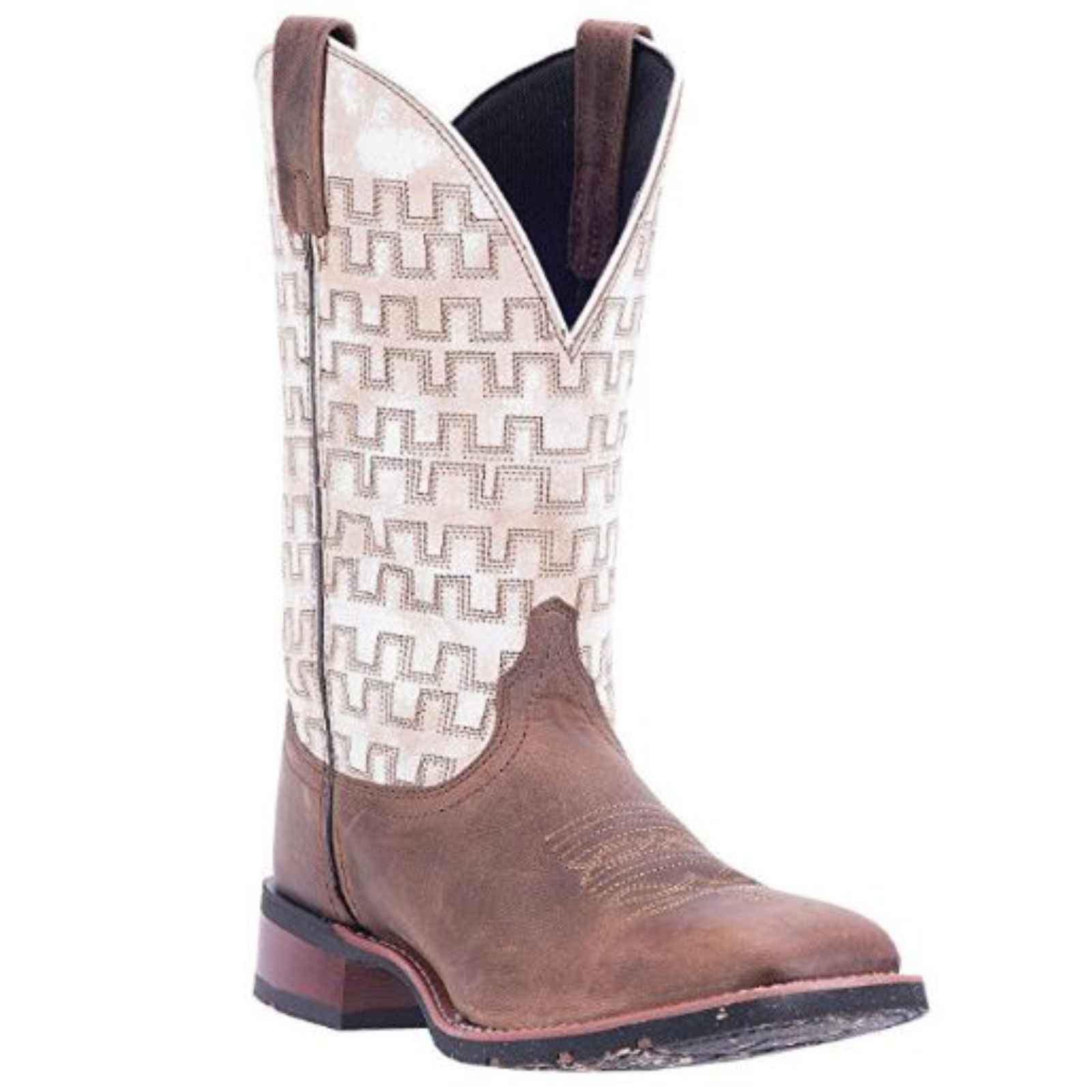 "Dan Post Men's 11"" Sand White Broad Square Toe Ultra-Light Boots, 7811 by DAN POST"