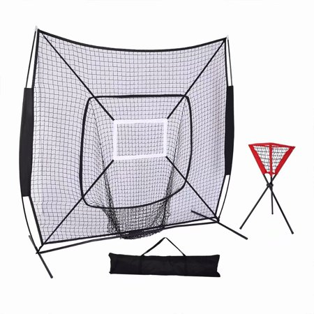Akoyovwerve 7'x7' Baseball & Softball Practice Net for Hitting, Pitching, Backstop Screen Equipment Training Aids Black, Includes Carry Bag