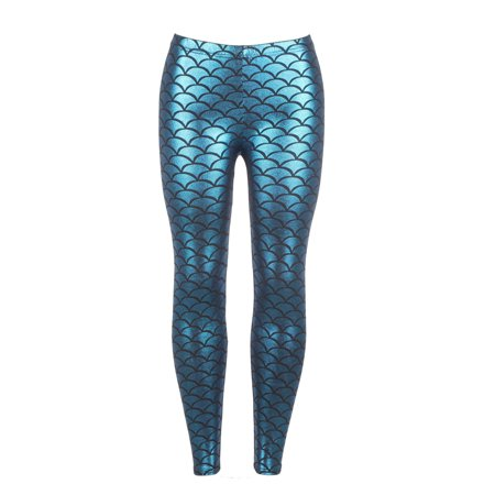 LELINTA Women's Seamless Blue Shiny Mermaid Fish Scale Printed Panty Leggings Regular One Size
