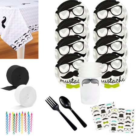 Mustache Party Deluxe Tableware Kit (Serves 8)](Mustache Part)