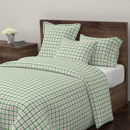 Preppy Plaid Holiday Decor Christmas Red And Sateen Duvet Cover by Roostery ()