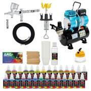 Complete Pro G44 MASTER Dual-Action AIRBRUSH w-AIR COMPRESSOR KIT and Paint