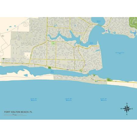 Political Map of Fort Walton Beach, FL Print Wall Art - Party City Fort Walton