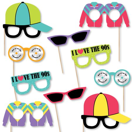 90's Throwback Glasses - Paper Card Stock 1990s Party Photo Booth Props Kit - 10 - 1990s Theme