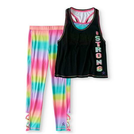 5953e6e603 Freestyle Revolution - Girls  Active Tank and Capri Legging 2-Piece ...