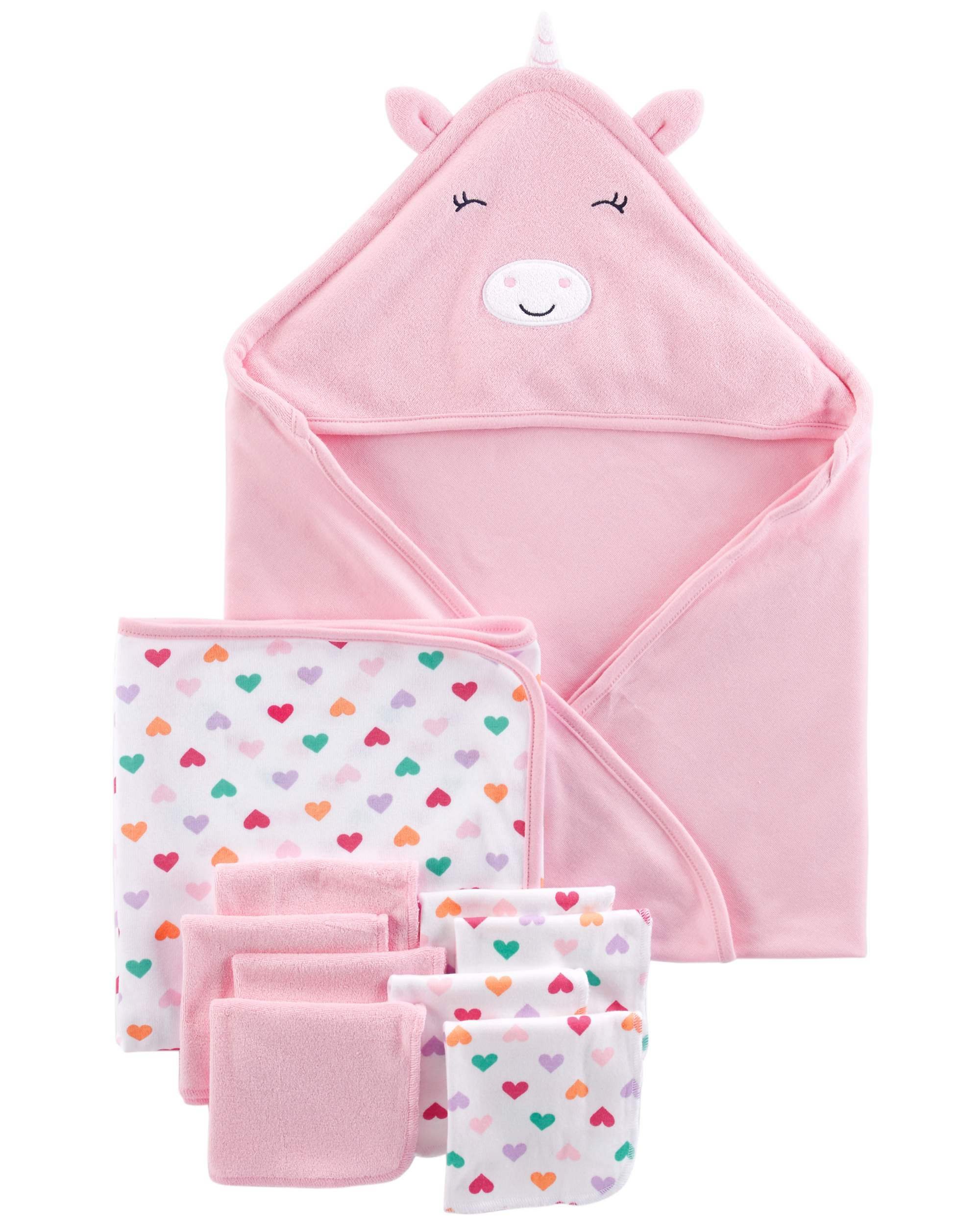 Hooded Towels & Washcloths, 10pc Set (Baby Girls )