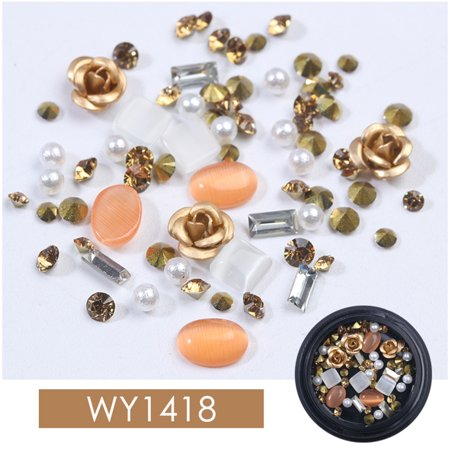 Fashion Mixed Colorful Rhinestones Gemstone Beads Nails Kits Crystal Stones Rose Shape DIY 3D Nail Art Decorations - Gem Shapes