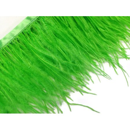 6 Inch Strip - Lime Green Ostrich Fringe Trim Feather
