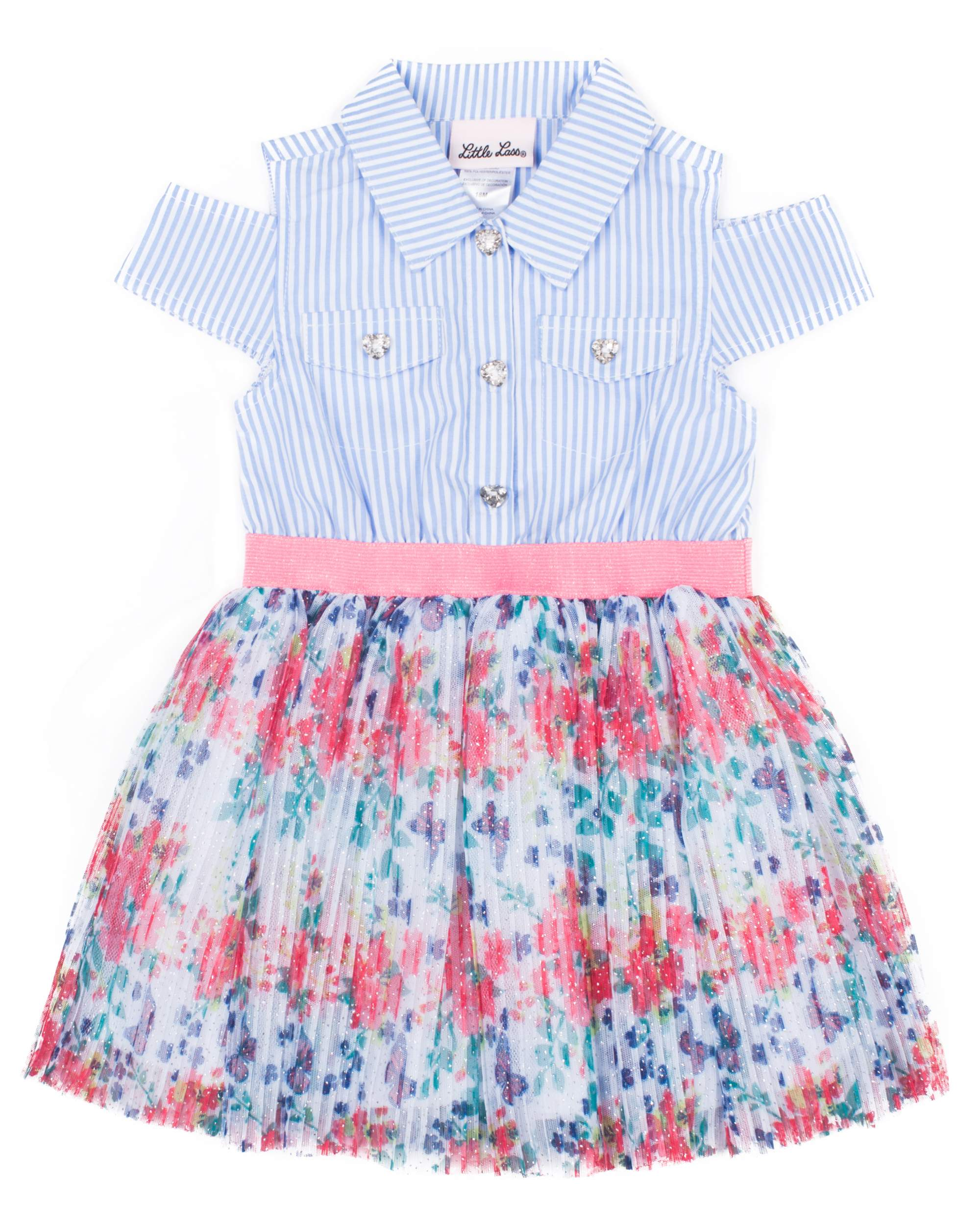 Striped & Sparkle Printed Pleated Chiffon Dress (Baby Girls & Toddler Girls)