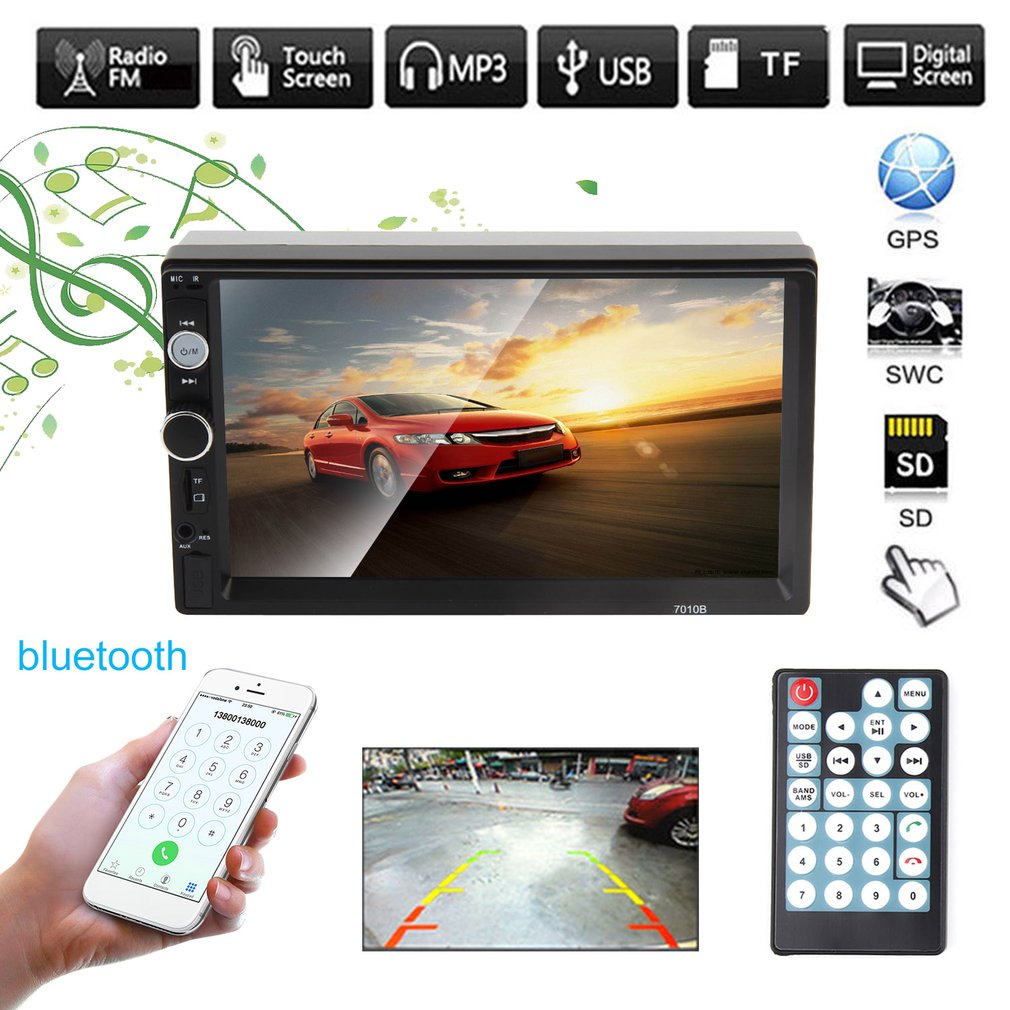 "7"" Touchscreen Double 2Din In dash Car Stereo Radio Mp5 Player Cam"