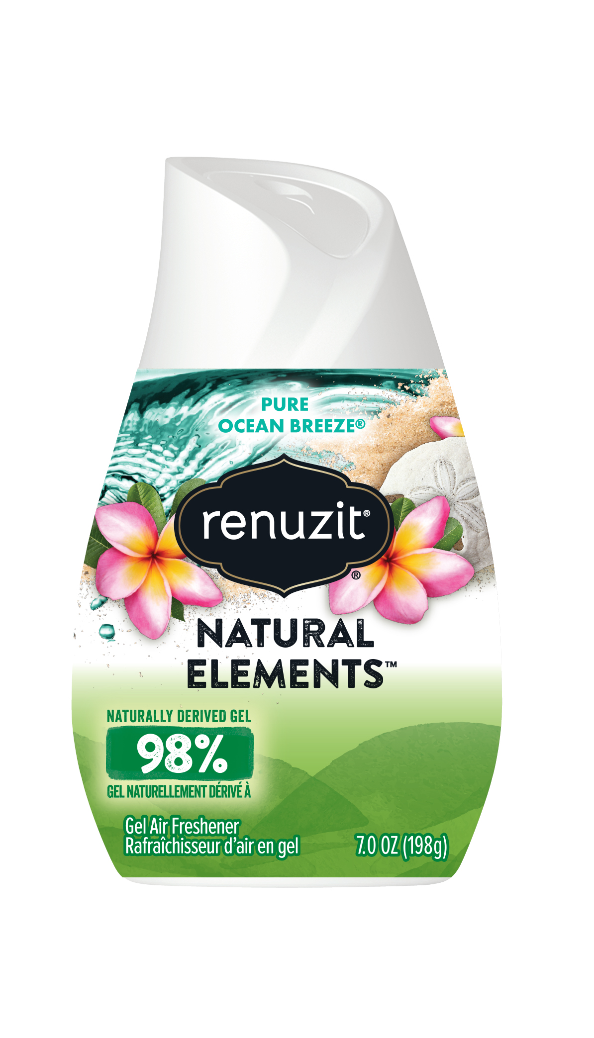 Gel Air Freshener >> Renuzit Natural Elements Gel Air Freshener Pure Ocean Breeze 7 Ounces