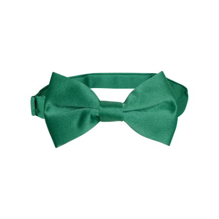 Vesuvio Napoli BOY'S BOWTIE Solid EMERALD GREEN Color Youth Bow Tie - Lighted Bow Tie